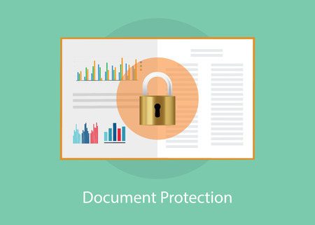 dir: document paper protection with padlock sign syombol vector graphic illustration