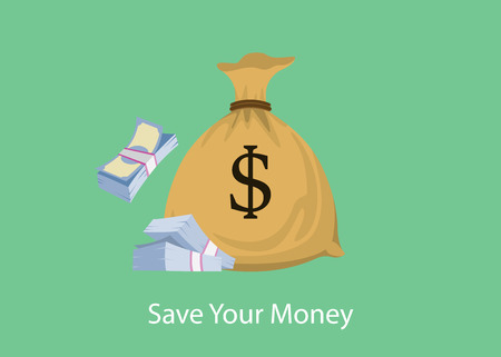 stack of cash: save your money with bag and stack of cash dollar sign vector graphic illustration Illustration