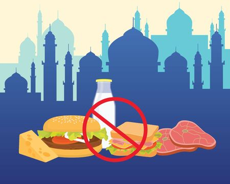 bayram: islam break fasting with ban of food and drink vector graphic illustration