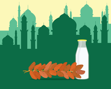 fasting: islam break fasting with food dates and glass of water milk vector graphic illustration Illustration