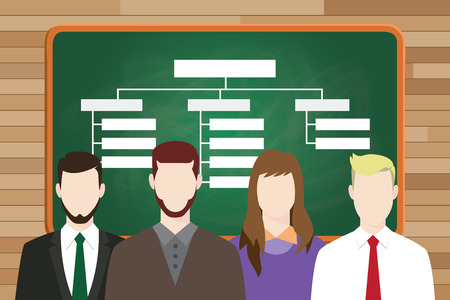 organization structure: organization structure write on board with team people on front of line up vector graphic illustration