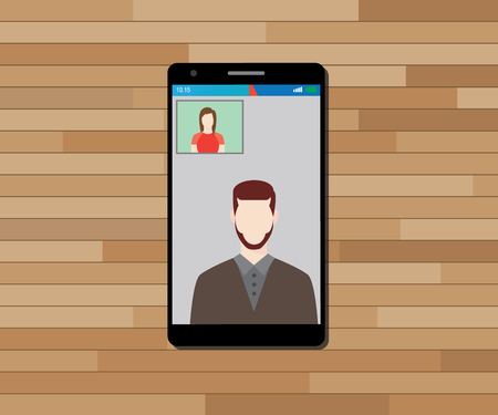 video call: video call technology on smartphone vector graphic illustration Illustration