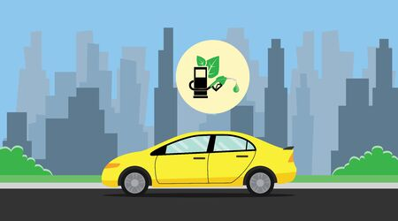 car leaf: biofuel green with leaf with car on the way background city vector graphic illustration