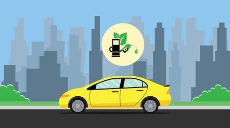 biobrandstof groen met blad met de auto op de weg achtergrond stad vector grafische illustratie