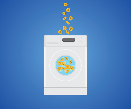 laundry machine: money laundry with money gold coin in laundry machine vector graphic illustration Illustration