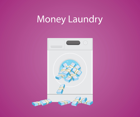 organized crime: money laundry with money cash in laundry machine vector graphic illustration Illustration