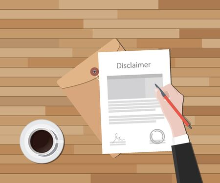 abandonment: disclaimer document hand sign a paper with stamp vector graphic illustration