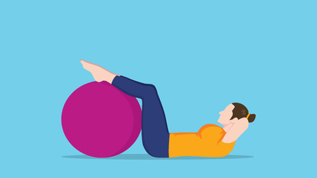 sit up: women sit up use exercise ball vector graphic illustration