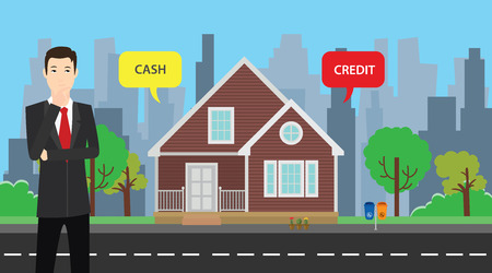 choose: a businessman choose between cash or credit to buy his house vector graphic illustration