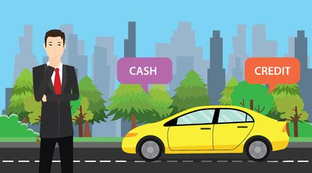 a businessman choose between cash or credit to buy his car vector graphic illustration Vektoros illusztráció