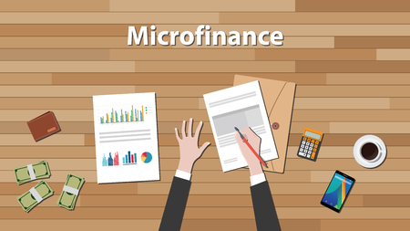 financing: microfinance person work in his table on some paper document with graph and chart vector graphic illustration Illustration