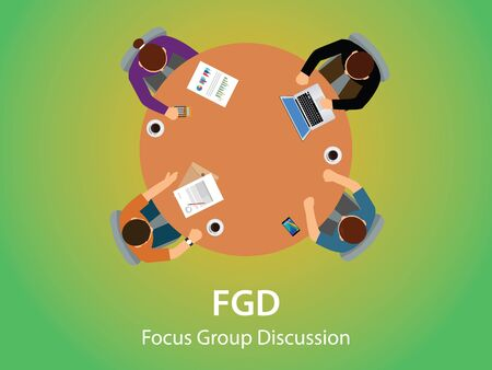 customer focus: fgd focus group discussion team work together and debate view from top vector graphic illustration Illustration
