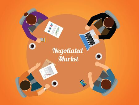 round table: negotiated market team work together view from top vector graphic illustration