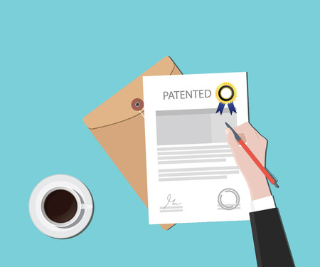 patent: patented patent document with badge and stamp vector graphic illustration