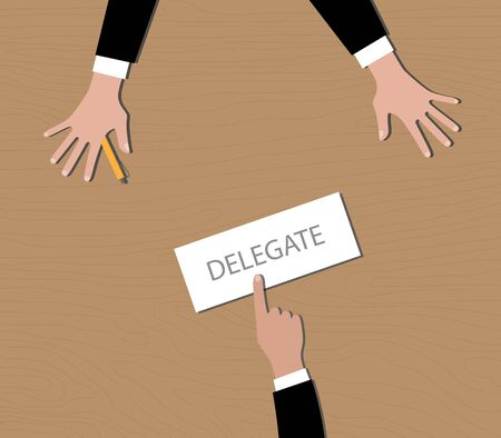 delegation: delegate your work to your employee vector graphic illustration Illustration