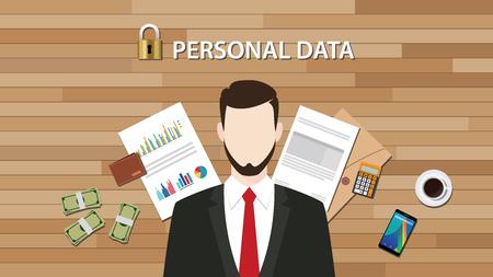 datos personales: los datos personales de bloqueo seguro con el gr�fico de documento en papel y el vector gr�fico ilustraci�n gr�fica