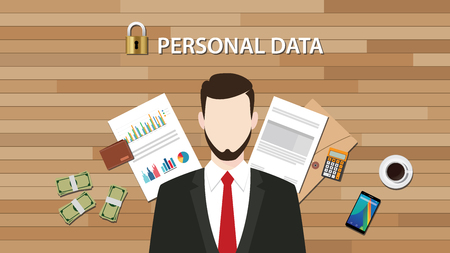 data protection act: personal data lock secure with paper document graph and chart vector graphic illustration