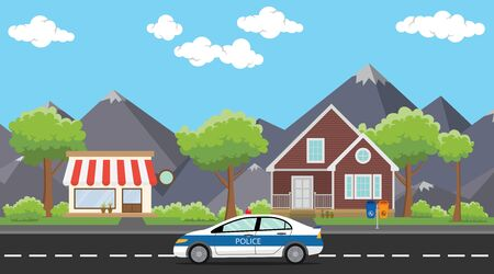 patrol: police patrol on city with car on the way public house or home vector graphic illustration