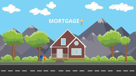 homeownership: mortgage house home building with text and key vector graphic illustration