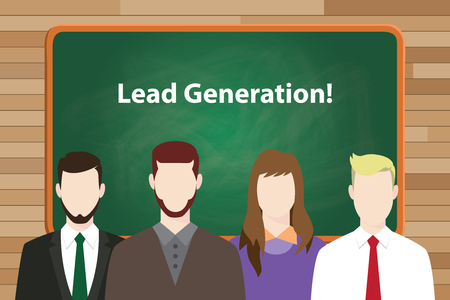 aligning: lead generation text with green board and people aligning on front of the board as new generation vector graphic illustration Illustration