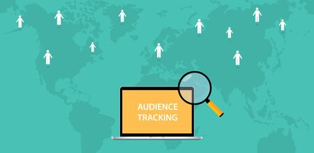 validated: audience tracking concept with computer text magnifying glass and world map track sign vector graphic illustration