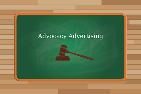 advocacy: advocacy marketing concept with text and judge vector graphic illustration