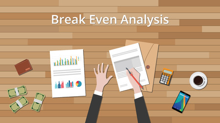 even: break even analysis concept businessman work on data graph and chart vector graphic illustration Illustration