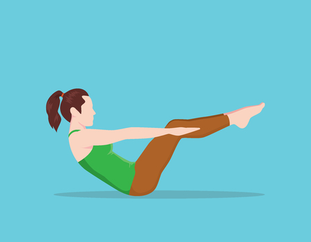 Low Belly Leg Reach Exercise pilates vector graphic illustration