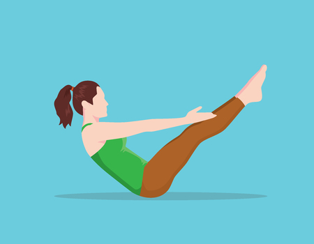teaser: teaser pilates position name lie flat and upper knee vector graphic illustration