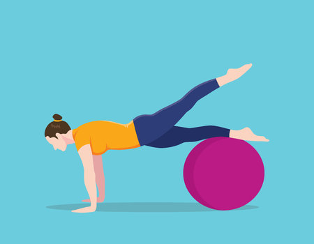 young woman legs up: exercise ball plank position names vector graphic illustration Illustration