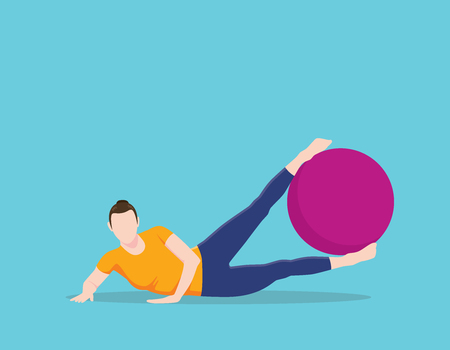 young woman legs up: side leg lifts exercise ball pilates position name vector graphic illustration