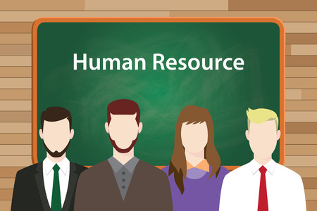 seek: hr human resource with worker employee align on front of black board to seek job vector graphic illustration