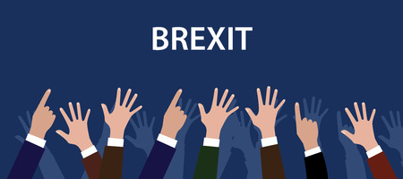 raise hand: britain british exit from europe with hand raise to give vote vector graphic illustration Illustration