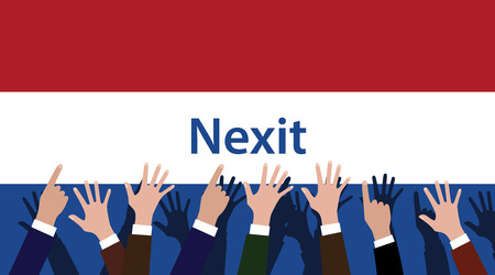 raise hand: nexit netherland exit from europe with flag and hand raise to give vote vector graphic illustration