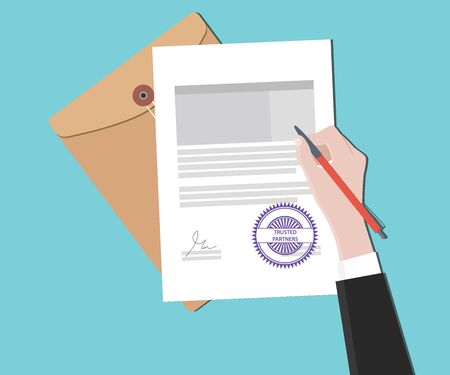 signing papers: trusted partners concept with hand signing a paper document vector graphic illustration