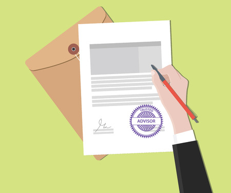 signing: trusted advisor concept with hand signing a paper document vector graphic illustration