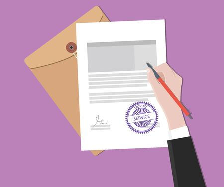 signing document: trusted service concept with hand signing a paper document vector graphic illustration