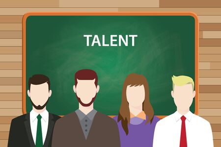 aligning: talent text concept with green board as background and people aligning on front of it vector graphic illustration Illustration