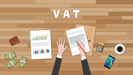 vat: vat value added tax with businessman hand write a graph and text on work desk vector graphic illustration Illustration