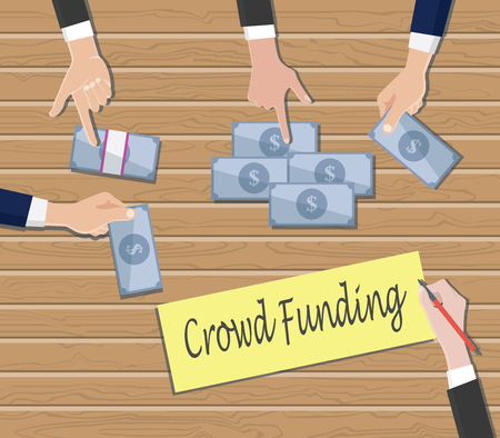 initiator: crowdfunding concept with people hand give cash money on top of the table vector graphic illustration