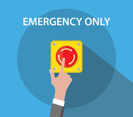 emergency button: hand push emergency button with red color and flat style vector graphic illustration Illustration
