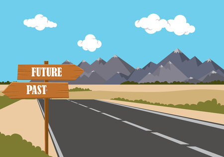 past: future past option on the sign road with highway and mountain as background vector graphic illustration