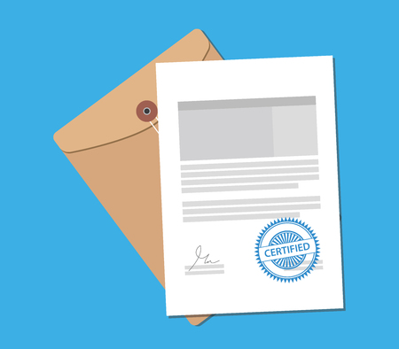 missive: certified stamp on paper document with flat style vector graphic illustration