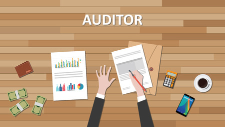 auditor: auditor text with businessman hand working on paper document with graph chart and money vector graphic illustration Illustration