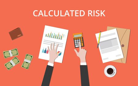 calculated: calculated risk concept with businessman hand on table with graph chart money and paper document vector graphic illustration