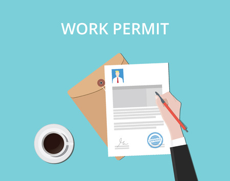 work permit hand sign a paper document with stamp and coffee vector graphic illustration