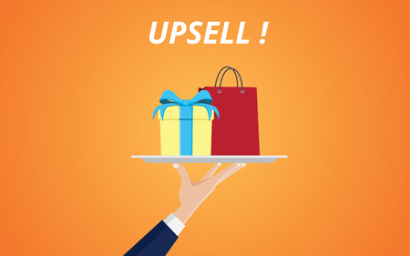 upsell product with hand handling a plate with gift box and shopping bag vector graphic illustration