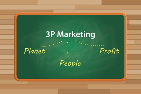 sustain: 3p marketing concept planet people and profit with chalk effect vector graphic illustration Illustration