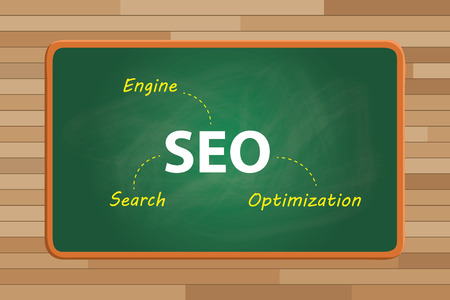 mindmap: seo concept search engine optimization with text on blackboard with chalk effect vector graphic illustration