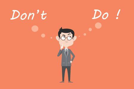 homme d'affaires confondre à choisir entre faire ou ne pas faire quelque chose illustration graphique Vecteurs